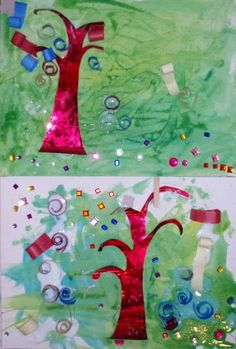 Inspired by Gustav Klimt. Artists : age 3 1/2  Introduce artist and look at images of magical trees. Ask kids to name all the shapes they could find, and study the spiral.  1. Draw a spiral in the air with a ribbon.  2. Make a drawing a of spiral.  3. Make a collage.    >Paint the background.    >Glue on a shiny tree.      >Roll papers into spirals and dip them into glue.      >Attach shiny stone.  Have fun with different shapes and patterns as well.