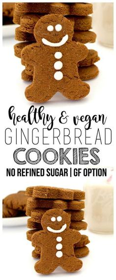 Vegan Gingerbread Cookies (No Refined Sugar Gluten-Free Option) These adorable Vegan Gingerbread Cookies are sooo delicious and festive! They are vegan, gluten-free, and contain no refined sugar, making them the perfect little holiday treat! Healthy Vegan Dessert, Cake Vegan, Vegan Dessert Recipes, Vegan Treats, Vegan Food, Gluten Free Xmas Cake, Gluten Free Desserts, Gluten Free Recipes, Christmas Gluten Free