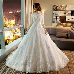공주 신부의 웨딩 드레스 2017 새로운 유럽과 미국의 높은 허리 지방 mm 대형 얇은 단어 어깨에 긴 꼬리 임산부