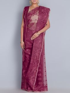 Buy Magenta Cotton Zari Dhakai Jamdani Saree Sarees Woven Wondrous in Online at Jaypore.com