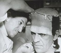 Here's JACK PIERCE once again working on Boris Karloff for a role that will shoot him to stardom ! Karloff spent the most hours in Jacks chair.