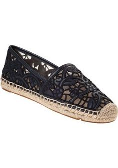 2d46e873413e Tory Burch - Lucia Flat Espadrille Navy Leather Loafer Flats