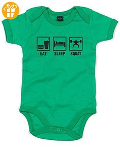 Eat Sleep Squat, Gedruckt Baby Strampler - Grün/Schwarz 6-12 Monate (*Partner-Link)