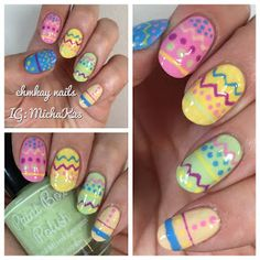 ehmkay nails: Easter Nail Art: Easter Eggs Nail Art with Paint Box Polish Ciao, Gelato Collection Easter Nail Designs, Easter Nail Art, Holiday Nail Designs, Cute Nail Art Designs, Nail Polish Designs, Holiday Nails, Gel Polish, Shellac Nail Art, Diy Nails