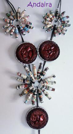 Andairadas:Collar hecho con papel y cápsulas nespresso TUTORIAL