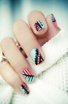 turquoise, pink & black nail design