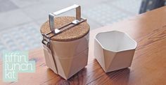 The Tiffin Lunch Kit by Vancouver, Canada based designer Lorea Sinclaire is a beautiful experiment in mobile eating. The porcelain and steel lunch kit, with its