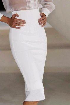 #white #whitefashion #straightcut #sharp #transparentfashion #pencilskirt
