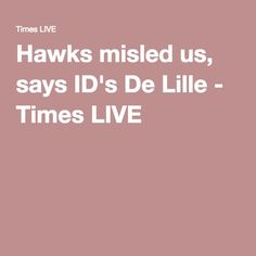Hawks misled us, says ID's De Lille - Times LIVE