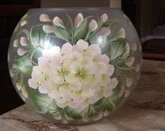 8 Lighted Bubble Bowl / White Hydrangea / Decorative by ArteeVita Painted Glass Vases, Painted Wine Glasses, Bottle Painting, Diy Painting, Glass Bottle Crafts, Vase Arrangements, Pink Hydrangea, China Painting, Decoration