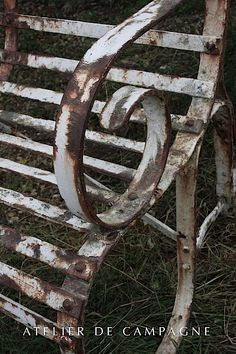#chippy and #rusted #garden seat.  I have one of these in the Shade Garden.