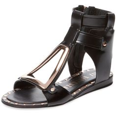Ivy Kirzhner Women's Intrepid Cut-Out Gladiator Sandal - Black, Size... ($199) ❤ liked on Polyvore featuring shoes, sandals, black, greek sandals, black leather sandals, black shoes, leather gladiator sandals and leather sole sandals