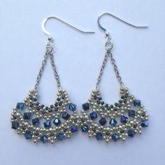 #earrings #beads #beaded #beading #swarovski #bicones #silver #blue #handmade #rightangleweave