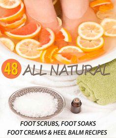 DIY Spa Recipes for a Homemade Foot Spa! 48 All Natural Foot Soak, Foot Scrub, Foot Cream & Heel Balm Recipes to keep your feet looking great no matter the season!