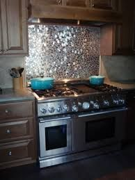 silver mosaic tiles kitchen