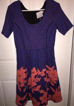 HD in Paris Anthropologie Blue Blushed Blooms Floral Blue S | eBay