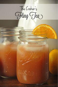 Geery, Party of Two: The Cooker's Fling Tea (Pool Drinks Pineapple Juice) Fruit Tea Recipes, Coctails Recipes, Dessert Drinks, Yummy Drinks, Desserts, Great Recipes, Favorite Recipes, Amazing Recipes, Cocktail Drinks