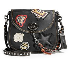 Coach 1941 17 Varsity-Patch Leather Saddle Bag (33.100 RUB) ❤ liked on Polyvore featuring bags, handbags, shoulder bags, black, studded shoulder bag, shoulder strap handbags, leather saddle bags, studded purse and leather handbags