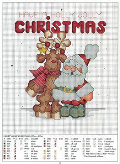 #Free #ReinDeerAndSanta || 15 graficos navideños en punto de cruz gratis13                                                                                                                                                     Más