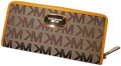 Michael Kors ZA Continental Jet Set Clutch Wallet with Gift Box (MK Signature Mirror Metallic Nickel)