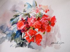Japanese watercolorist Tsukiyo Ono creates wonderful paintings of flowers using an amazing bright palette. With the help of her art she make an attempt to make the surrounding world more positive a… Watercolor And Ink, Watercolor Flowers, Watercolor Paintings, Watercolors, Bouquet, Paint Stain, Box Art, Art And Architecture, Art Blog
