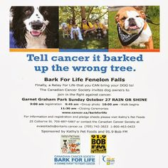 Oct 27 at 9:00 am Fenelon Falls Graham Park Calling all DOGS!! Cancer Society Bark for Life