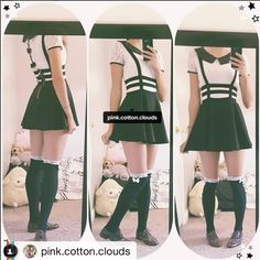 "Korea fashion punk hollow out strap pleated tall waist skirts Coupon code ""cutekawaii"" for 10% off"