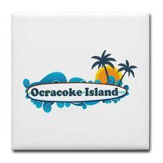 Ocracoke Island - Surf Design Tile Coaster on CafePress.com