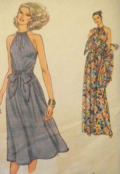 Vintage Vogue Sewing Pattern-Dress And Shawl-32.5 Bust-Vogue 7054 Uncut.