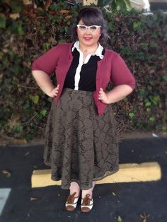 fatandnerdy:  Going for that school marm hottie look.  Shirt is...