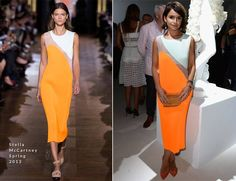 Miroslava Duma continues to impress during Haute Couture Paris Fashion Week. The fashion editor no doubt stood out wearing a dual-colour white-and-neon-orange Stella McCartney Spring 2013 dress. Stella McCartney wooden clutch completed her look.