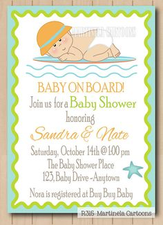 surf theme baby shower invitation 1st birthday invitation baby on board baby surfer