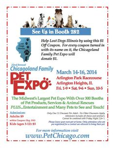 Events: Pet Expo 2014; March 14,15, 16, come to the Chicagoland Family Pet Expo. Meet LDI volunteers AND $5 tag engraving!! #Dogs #Chicago #Family #Pets