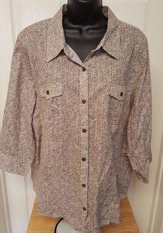 CJ Banks Woman's Plus Brown/Black/White Leopard Print Button Down Shirt Size 2X #CJBanks #ButtonDownShirt #Casual
