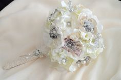 Brooch heirloom Bouquet made with brooches and fabric flowers mixed with silk flowers in shades of ivory, champagne,taupe and READY TO SHIP