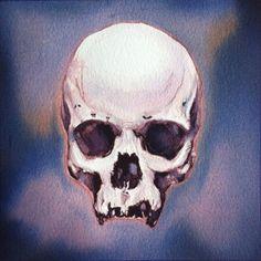 "'Indigo Skull'. Ink-painting - Part of the series ""Till Death Do Us Part"".2015"