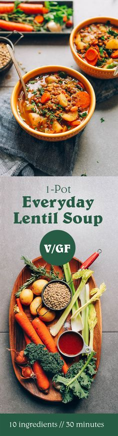 Delicious and EASY Everyday Lentil Soup! 10 wholesome ingredients, 1 pot, and 30 minutes! #vegan #minimalistbaker
