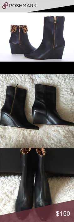 "Kate Spade leather dyed calf fur leopard trim boot Brand new without tags or box. Size 8.5. True to size.Never worn. No damages or wear to these amazing boots. Smooth leather. Functional gold toned side zippers.retails for $450. Yours today for much much less. Offers accepted through OFFER BUTTON ONLY 👇🏾 HEEL HEIGHT 3"" GOLD ZIPPER PEBBLED BLACK LEATHER FUR FROM BRAZIL kate spade Shoes Ankle Boots & Booties"