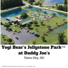 View of our 18 hole mini golf course, fishing ponds, creamery and ranger station Yogi Bear Jellystone Park, Rv Campgrounds, Ponds, Ranger, Golf Courses, Daddy, Fishing, Public, Camping