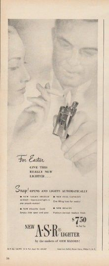 "1948 AMERICAN SAFETY RAZOR LIGHTER vintage magazine advertisement ""For Easter"" ~ For Easter - give this really new lighter ... Snap! opens and lights automatically ... new ASR Lighter - by the makers of GEM RAZORS! ~"