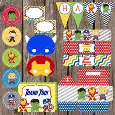 Superhero Party Kit  Banner Water Labels by HilltopCustomDesigns, $19.99