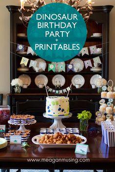 Navy & green dinosaur birthday party + free #Printable // MeaganMusing