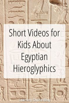 Short Videos for Kids About Egyptian Hieroglyphics Your kids can learn about ancient Egyptian hieroglyphics from these quick videos. Ancient Egypt Lessons, Ancient Egypt For Kids, Ancient Egyptian Art, Ancient History, Ancient Egypt Activities, Ancient Egypt Crafts, Egyptian Mask, History For Kids, Study History