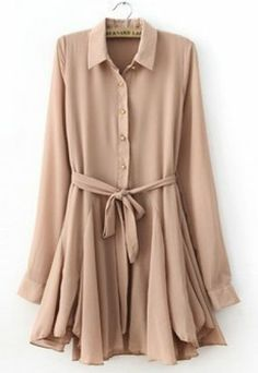 Pink Lapel Long Sleeve Drawstring Pleated Dress