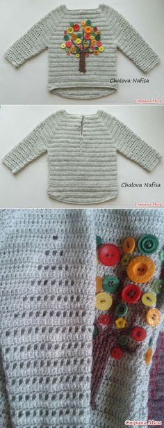 einfach gestrickt : Beautiful crochet sweater with filet design on sleeves, tree made with buttons, . Crochet Pillow Patterns Free, Baby Knitting Patterns, Baby Pullover, Baby Cardigan, Girls Sweaters, Baby Sweaters, Cardigan Sweaters, Knitting For Kids, Crochet For Kids
