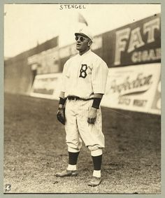 Casey Stengel wearing sunglasses while playing outfield for the Brooklyn Dodgers, ca. 1915.