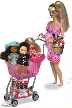 HOLY CRAP-they made a Barbie based on my sis in law! Here's the trailer park Barbie that comes with three kids from three different Ken dolls and is also equipped with Marlboros, a bottle of Jack, Mac&Cheese; and two sixpacks of Budweiser. Barbie Et Ken, Bad Barbie, Barbie Stuff, Girl Barbie, Doll Stuff, White Trash Costume, Barbie Funny, Barbie Humor, Pregnant Barbie