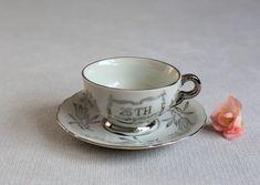 25th Anniversary Cup and Saucer, Teacup & Saucer,Coffee Cup and Saucer, Vintage China Coffee Set, Small Cup and Saucer, Hotpar Made in Japan