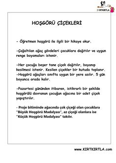 PROJE -HOŞGÖRÜ AĞACI Bullying, Worksheets, Activities For Kids, Preschool, Math Equations, Education, Words, Candle, Rage