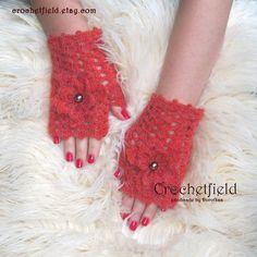 Russet Crochet Mittens with Flowers Fingerless by Crochetfield